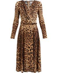 Dolce & Gabbana - Leopard Print Belted Dress - Lyst
