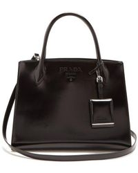 Prada - Monochrome Medium Leather Bag - Lyst