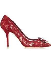 Dolce & Gabbana - Belluci Crystal-embellished Lace Court Shoes - Lyst
