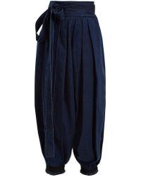 JW Anderson - Wide-leg Pleated Tie-cuff Denim Trousers - Lyst