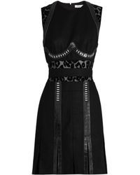 Mugler - Panelled Leopard-print Devoré Wool Dress - Lyst