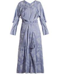 Loewe - Floral Jacquard Draped Satin Dress - Lyst