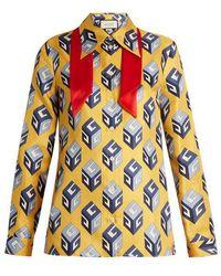 Gucci - Gg Wallpaper-print Tie-neck Silk Blouse - Lyst