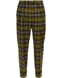 CONNOLLY - High Rise Check Wool Trousers - Lyst