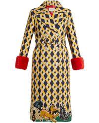 Gucci - Geometric Print Fur Trimmed Wool Blend Coat - Lyst