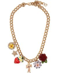 Dolce & Gabbana - Strawberry, Rose, Crystal And Charm Necklace - Lyst