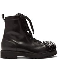 Rochas - Crystal-embellished Leather Ankle Boots - Lyst