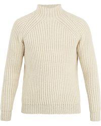 De Bonne Facture - Pull en maille de laine côtelée à col montant - Lyst