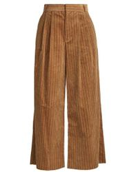 MUVEIL - Wide-leg Cropped Cotton-corduroy Trousers - Lyst