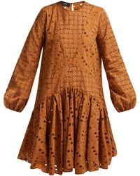 Rochas - Broderie Anglaise Cotton Dress - Lyst