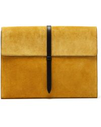 Smythson Suede And Leather Document Holder - Yellow