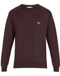Maison Kitsuné - Logo Embroidered Cotton Crew Neck Sweatshirt - Lyst