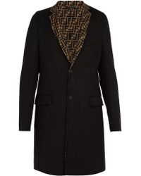 Fendi - Logo Lapel Wool Blend Coat - Lyst