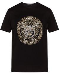 Versace - T-shirt en coton à sequins motif Medusa - Lyst