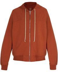 Rick Owens - Zip Through Cotton Jersey Hooded Sweatshirt - Lyst