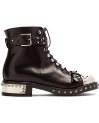 Alexander McQueen - Studded Leather Ankle Boots - Lyst