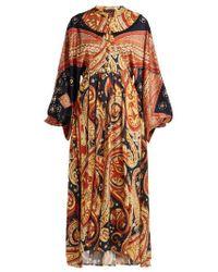 Etro - - Lupe Paisley Print Satin Long Dress - Womens - Orange Print - Lyst