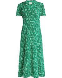 HVN - Morgan Flower Print Silk Dress - Lyst