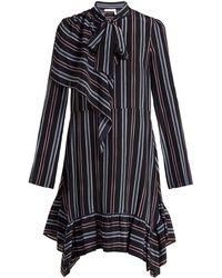 See By Chloé - Striped Asymmetric Silk Mini Dress - Lyst