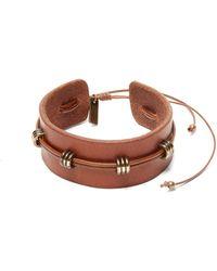 Saint Laurent - Loop Embellished Leather Bracelet - Lyst