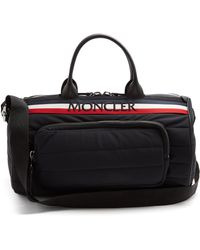 Moncler - Striped Logo Embroidered Quilted Holdall - Lyst