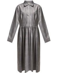 MM6 by Maison Martin Margiela - Checked Print Midi Dress - Lyst