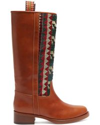 Etro - Embroidered Leather Riding Boots - Lyst