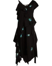 Diane von Furstenberg | Swallow-print Stretch-silk Dress | Lyst