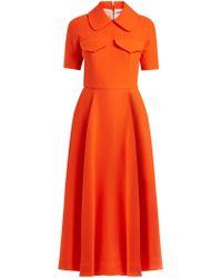 Emilia Wickstead - Alice Short-sleeved Wool-crepe Midi Dress - Lyst