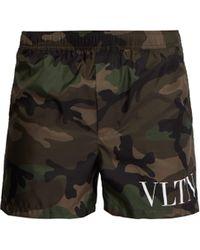 Valentino - Logo Camo Print Swim Shorts - Lyst