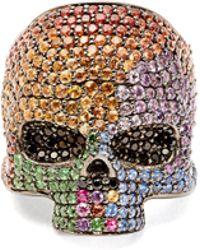 Lynn Ban - Sapphire & Rhodium Plated Skull Ring - Lyst