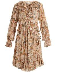 Zimmermann - Painted Heart Floral-print Ruffled Silk Dress - Lyst