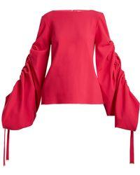 OSMAN | Cyllene Gathered-sleeves Crepe Top | Lyst