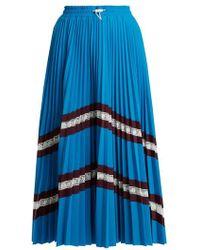 Valentino - High-rise Chevron-striped Pleated Jersey Skirt - Lyst