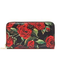 Dolce & Gabbana - Rose Print Leather Continental Wallet - Lyst
