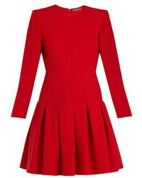 Alexander McQueen - Padded-shoulder Wool And Silk-blend Dress - Lyst