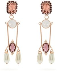 Erdem - - Crystal And Faux Pearl Embellished Drop Earrings - Womens - Burgundy - Lyst