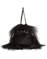 Attico - Feather-trimmed Velvet Drawstring Pouch - Lyst