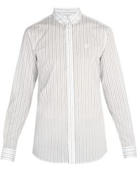 Givenchy - Monogram Embroidered Pinstriped Cotton Blend Shirt - Lyst