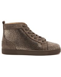 Christian Louboutin - Louis Strass Embellished High Top Leather Trainers - Lyst