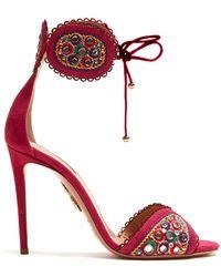 Aquazzura - Jaipur Embroidered Suede Sandals - Lyst