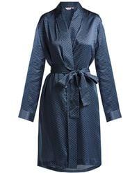 Derek Rose - - Brindisi 26 Silk Satin Kimono - Womens - Navy - Lyst