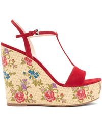Prada | Floral-embroidered Suede Wedge Sandals | Lyst