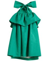 MSGM - Detachable-bow Tiered Faille Dress - Lyst