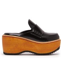 Marni - Leather And Wood Slip On Flatform Loafers - Lyst