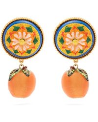 Dolce & Gabbana - Floral And Orange Drop Clip-on Earrings - Lyst