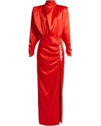Alessandra Rich - Robe de soirée en satin de soie à cristaux - Lyst