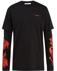 Givenchy - Modern-fit Rose-print Long Sleeve T-shirt - Lyst