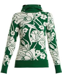JoosTricot - Floral-intarsia Cotton-blend Hooded Sweater - Lyst