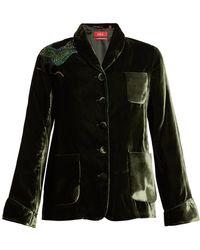 F.R.S For Restless Sleepers - Persefone Bird-embroidery Velvet Pyjama Jacket - Lyst